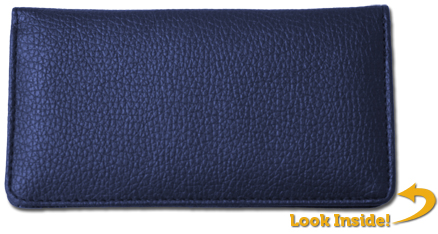 Blue Textured Leather Checkbook Cover - 1
