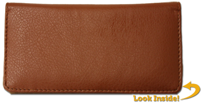 Brown Textured Leather Checkbook Cover - 1