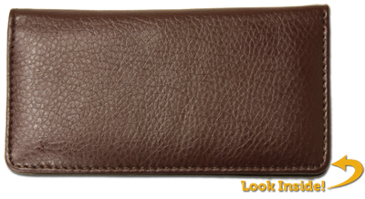 Dark Brown Textured Leather Checkbook Cover - 1