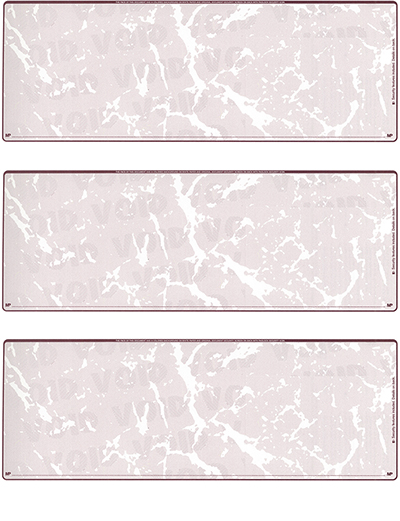 Burgundy Marble Blank 3 Per Page Laser Checks - 1