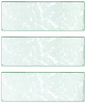 Green Marble Blank 3 Per Page Laser Checks - 1