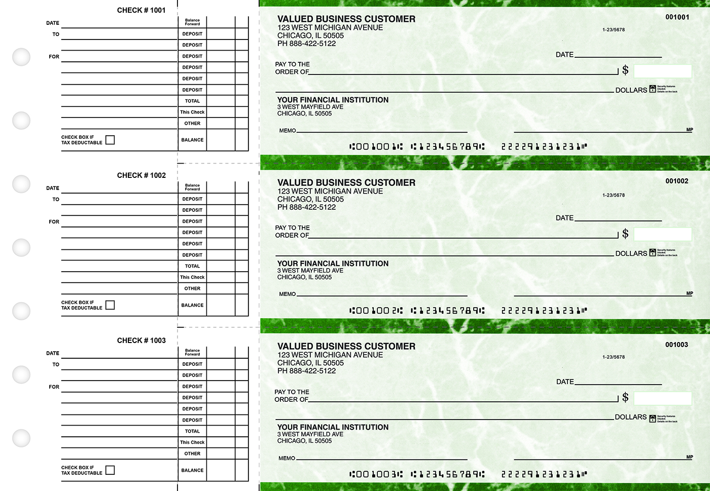 Green Marble Accounts Payable Business Checks - 1