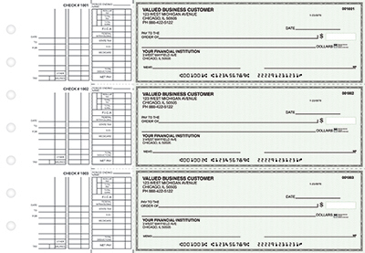 Green Linen Multi-Purpose Business Checks - 1