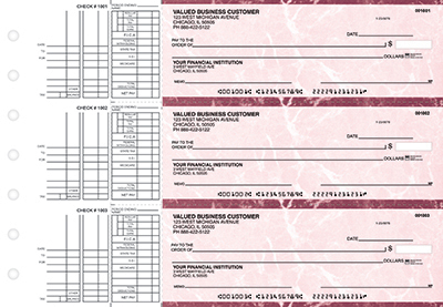 Burgundy Marble Multi Purpose Business Checks - 1