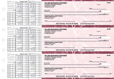 Burgundy Marble Payroll Business Checks - 1