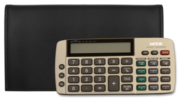Black Tri-fold Checkbook Calculator Cover