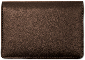Dark Brown Leather Top Stub CheckBook Cover - 1